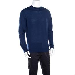 Ermenegildo Zegna High Performance Navy Blue Ribbed Trim Sweater L 163295