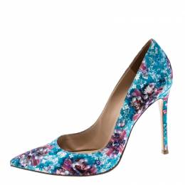Gianvito Rossi For Mary Katrantzou Multicolor Floral Printed Fabric Lisa Ponker Pointed Toe Pumps Size 38.5 163385
