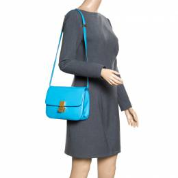 Celine Turquoise Leather Medium Classic Box Shoulder Bag 163403