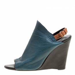 Balenciaga Teal Leather Gloves Wedge Sandals Size 39 163558