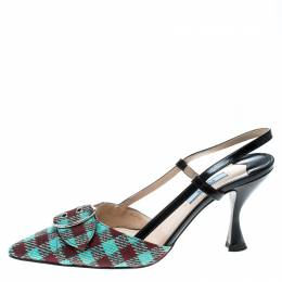 Prada Multicolor Check Pattern Fabric and Leather Slingback Sandals Size 37.5 163595