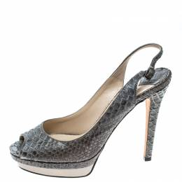 Jimmy Choo Grey Python Peep Toe Slingback Platform Sandals Size 38.5 163596