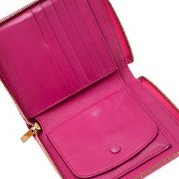 Celine Pink/Beige Leather Zip Around Compact Wallet 163400