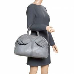 Saint Laurent Grey Leather Large Obi Bowler Bag 163384