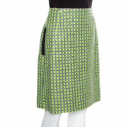 Carven Kiwi Green Textured Checkered Pencil Skirt S