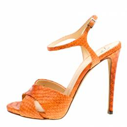 Giuseppe Zanotti Design Orange Python Embossed Leather Cross Strap Sandals Size 39 163655