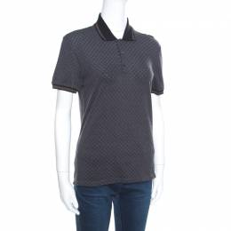 Gucci Grey Cotton Jacquard Striped Web Trim Polo T-Shirt XS 163398