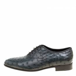 Salvatore Ferragamo Slate Grey Ostrich Leather Gris Oxfords Size 41.5 163730