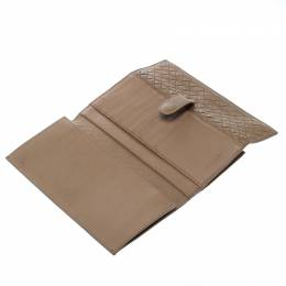 Bottega Veneta Light Brown Intrecciato Leather Wallet 164209