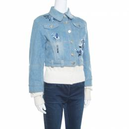 Dior Indigo Faded Effect Floral Embroidered Faux Layered Denim Jacket M 163580