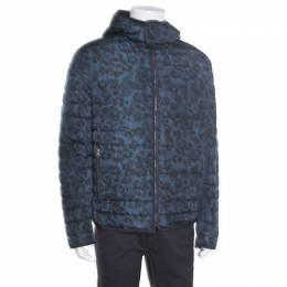 Salvatore Ferragamo Blue Camo Print Hooded Zip Front Quilted Down Jacket XL 163770