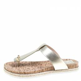 Tory Burch Metallic Gold Leather Cork Foot Bed Flat Thong Espadrille Sandals Size 40