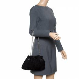 Salvatore Ferragamo Black Suede Chain Shoulder Bag 165089
