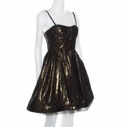 Alice + Olivia Metallic Lace Overlay Yelle Dress S 165823