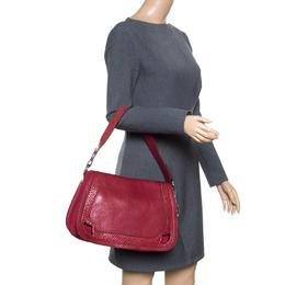 Cartier Maroon Leather and Snakeskin Shoulder Bag 165091