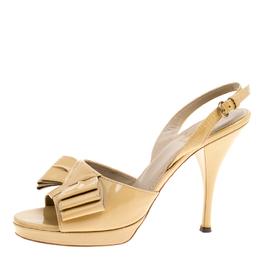 Saint Laurent Beige Patent Leather Y Bow Platform Singlback Sandals Size 40 166113