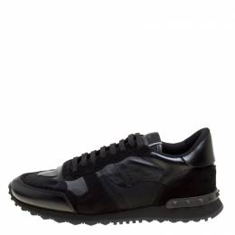 Valentino Black Camouflage Leather and Suede Rockrunner Sneakers Size 42 166093