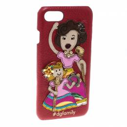 Dolce&Gabbana Red Leather Embellished #dgfamily Patch Iphone 6 Case 166390