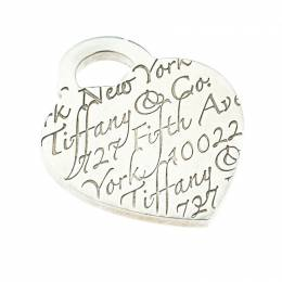 Tiffany & Co. Tiffany Notes Fifth Avenue New York Engraved Heart Silver Pendant Charm