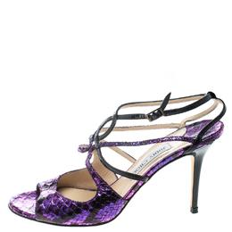 Jimmy Choo Metallic Purple Python Foil Embossed Leather Strappy Peep Toe Sandals Size 39 166840