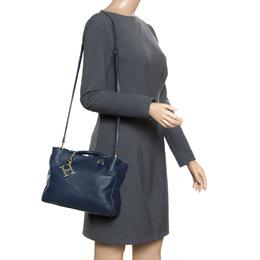 Carolina Herrera Navy Blue Leather Top Handle Bag 166880