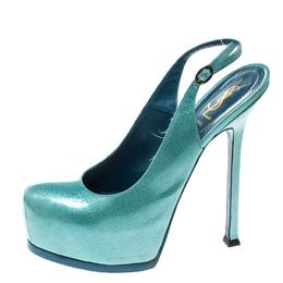 Saint Laurent Light Blue Textured Patent Leather Tribtoo Platform Slingback Sandals Size 38.5 167197