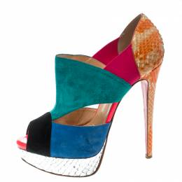 Christian Louboutin Multicolor Suede and Python Leather Pitou Cut Out Platform Pumps Size 37.5 167180