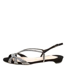Christian Louboutin Black Crystal Embellished Suede Slingback Flat Sandals Size 36.5 167070
