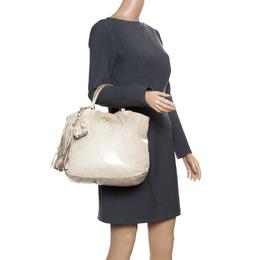 Prada Beige Leather Top Handle Bag 167600