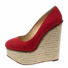 Charlotte Olympia Red Canvas Carmen Espadrille Platform Wedge Pumps Size 37 167876