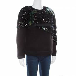Fendi Black Fleece Wool and Alpaca Blend Crystal Embellished Long Sleeve Jumper S 168134