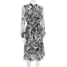 Lanvin Dark Grey Floral Printed Silk Belted Midi Dress S 168130