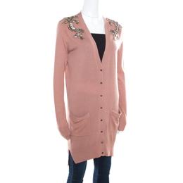 Matthew Williamson Caramel Brown Wool Cashmere Embellished Button Front Cardigan S 168182