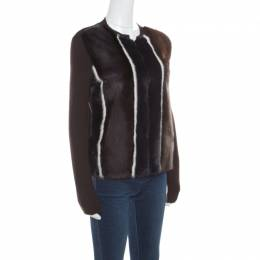 Fendi Brown Stretch Wool Mink Fur Paneled Zip Front Sweater S 168237