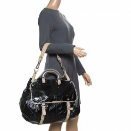 Stella McCartney Black Faux Patent Leather and Canvas Top Handle Bag 168007