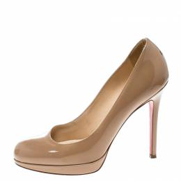 Christian Louboutin Beige Patent Leather Neofilo Platform Pumps Size 37 168590