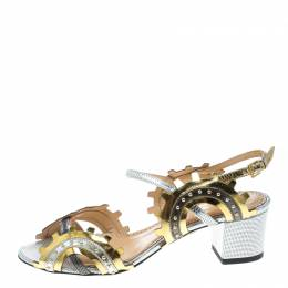 Charlotte Olympia Multicolor Leather Studded Ankle Strap Sandals Size 37 168297