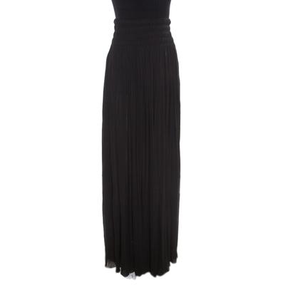Alaia Black Stretch Shirred Elasticized Waist Maxi Skirt S 168252 - 1