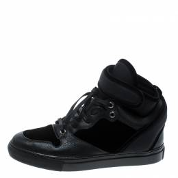Balenciaga Black Velvet and Leather High Top Sneakers Size 37 168563