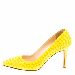 Christian Louboutin Canary Yellow Patent Leather Pigalle Spikes Pumps Size 37.5 168579