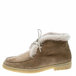 Loro Piana Beige Suede and Fur Open Walk Ankle Boots Size 36 168584