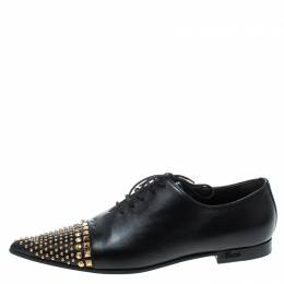 Gucci Black Leather Studded Pointed Toe Loafers Size 37 168597