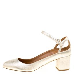Aquazzura Metallic Gold Laminated Leather Sweet Thing Block Heel Ankle Strap Pumps Size 40 168270