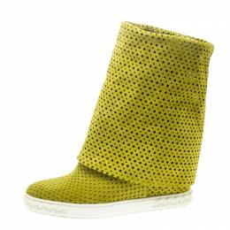 Casadei Lime Green Perforated Suede Wedge Boots Size 39 168948