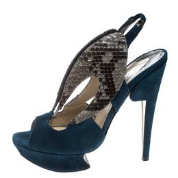 Nicholas Kirkwood Multicolor Suede and Python Platform Slingback Sandals Size 37 169014