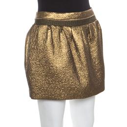 Diane Von Furstenberg Metallic Gold Gathered Addie Jacquard Mini Skirt M 168599
