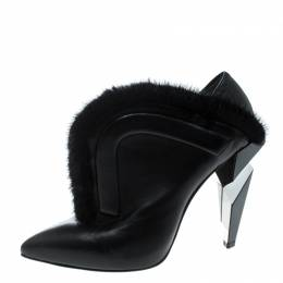 Fendi Monochrome Leather and Fur Trimmed V Neck Ankle Boots Size 38 168928