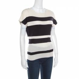 Christian Dior Monochrome Striped Slit Back Detail Tapered Waist Sweater Top M 168407