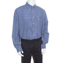 Ralph Lauren Blue Gingham Checked Cotton Logo Embroidered Long Sleeve Shirt XXL 168883