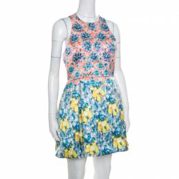 Mary Katrantzou Bejeweled Bow Print Silverfloss Ohara Cocktail Dress M 169018